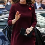 Kate Middleton sported a loose-fitting burgundy dress by Goat to attend a mental health forum in London. (Photo: WENN)
