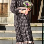 For the visit to the Foundling Museum, Kate wore a blue, burgundy and white dress by Kate Spade New York. (Photo: WENN)