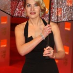 Kate Winslet protecting her beautiful hairdo from the rain as she arrived at the BAFTA Awards 2009. (Photo: WENN)