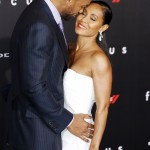 "Jada Pinkett and Will Smith pouring love at the world premiere of ""Focus"". (Photo: WENN)"