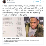 If you have money to spend 90k, you have money to tip 20%. (Photo: Twitter)