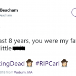Carl's death hurts, but he was still sometimes the worst. (Photo: Twitter)