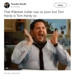 Who cares about Venom not being on the trailer? WE HAD TOM HARDY! (Photo: Twitter)