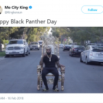 From now on, February 16th will be known as Black Panther Day. (Photo: Twitter)