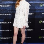 Sophie Turner rocked an off-white ruffled look by Louis Vuitton at the Game of Thrones fan event in Madrid in 2016, paired with edgy black lace-up boots from the fashion house. (Photo: WENN)