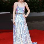 "Dakota became a real-life mermaid wearing a stunning sequin-covered holographic dress at the Venice Film Festival premiere of ""Brimstone"". (Photo: WENN)"