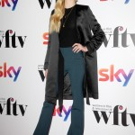 Sophie looked particularly preppy at the Sky Women in Film & TV Awards 2016 in a pair of navy blue wide legged trousers, tight black jumper and charcoal grey long coat. (Photo: WENN)