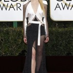 Turner once again rocked a Louis Vuitton number on the 2017 Golden Globes; a long-sleeved contrasting black-and-white dress boasting a sheer skirt and embellished panels. (Photo: WENN)