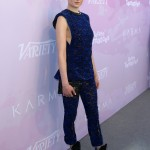 Sophie Turner was striking in blue at Variety's 2017 Celebratory Brunch, again wearing Louis Vuitton with this sheer lace tunic top and cropped trousers. (Photo: WENN)