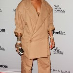 Rihanna attended the 69th annual Parsons Benefit to be awarded Harvard's Humanitarian of the Year, wearing a double-breasted khaki Matthew Adams Dolan suit, exaggerated in it oversized proportion. (Photo: WENN)