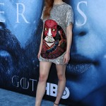 Sophie was literally shining in a shimmery Louis Vuitton mini dress featuring a samurai face design by Kansai Yamamoto at the Game of Thrones premiere of season 7. (Photo: WENN)
