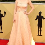 Dakota Fanning ruled the red carpet at the 2018 SAG Awards in a glamorous sophisticated nude pale blush strapless custom Prada gown. (Photo: WENN)