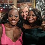 The Help reunion! Viola Davis, Allison Janney and Octavia Spencer posing together at the Oscars. (Photo: Instagram)
