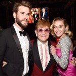 "Miley Cyrus posing with her ""favorite men"", her fiancé Liam Hemsworth and Sir Elton John. (Photo: Instagram)"