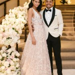 For the reception, Iman changed into a blush pink tulle gown with floral needlework and deep V-neck, also created by the Lebanese designer. (Photo: Instagram)