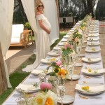 Light, airy, and all-natural seemed to be the theme of Rosie Huntington's baby shower, which featured extra-long tables topped with crisp white linens and delicate flowers. (Photo: Instagram)