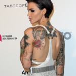 """Ruby loves ink! She has 48 tattoos all over her body, although, as she said, """"all blend into one."""" (Photo: WENN)"""