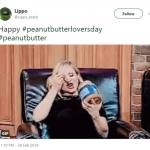 This is exactly how I'll be celebrating Peanut Butter Lover's Day! (Photo: Twitter)