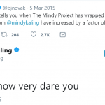 When B.J. jokingly complained about Mindy texting him too much. (Photo: Twitter)