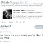 When B.J. finally found a movie from before the 1980's that Mindy actually liked! (Photo: Twitter)