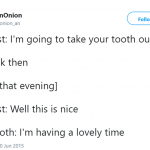 My tooth is not happy. (Photo: Twitter)