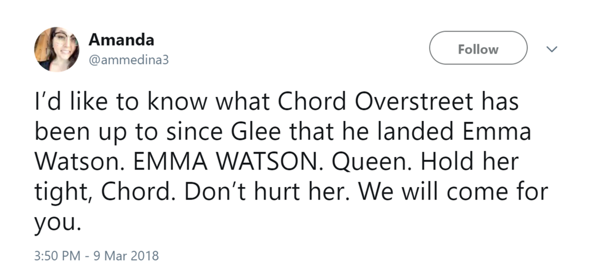 Emma Watson And Chord Overstreet Are Dating And Gleeks and ...