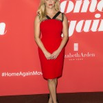 "Witherspoon wore a beautiful red-hot Roland Mouret dress paired with a Christian Louboutin sandals to the ""Home Again"" premiere. (Photo: WENN)"