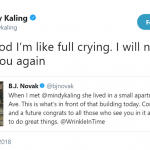 """Oh my god, I'm like full crying. I will never be mad at you again,"" Kaling replied. (Photo: Twitter)"