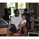 "Kanye West, who is a god and therefore isn't bound by things like dates and calendars, chose to celebrate ""Take Your Daughter to Work Day"" with little North at the studio. (Photo: Instagram)"