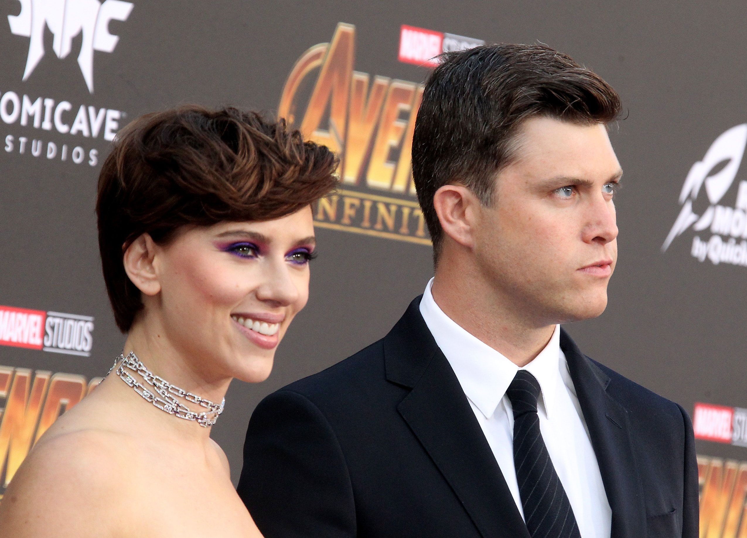 Scarlett Johansson and Colin Jost made their official debut as a couple. (Photo: WENN)
