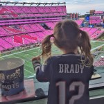 We bet someone has season tickets! Vivian Lake Brady rooted for her quarterback dad in her #12 jersey during a game at Gillette Stadium. (Photo: Instagram)