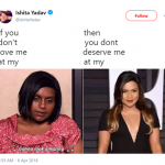 Twitter user Ishita Yadav used a photo of Kelly Kapoor and compared it with one of Mindy Kaling on a red carpet event. (Photo: Twitter)