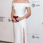 "Emma Watson sizzled at ""The Circle"" premiere at Tribeca Film Festival 2017 in a white hot off-the-shoulder Burberry silk gown, with daring thigh split. (Photo: WENN)"