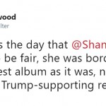 """Today was the day that @ShaniaTwain was cancelled. To be fair, she was bordering on it with that latest album as it was, never mind today's little Trump-supporting revelation,"" someone else condemned. (Photo: Twitter)"