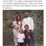 Kim Kardashian's Easter family photoshoot wasn't nearly as pretty as the resulting picture. (Photo: Twitter)