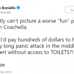 I'd never pay to be stressed, hot, and constipated. (Photo: Twitter)