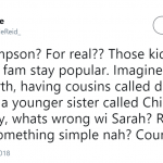 What's wrong with Sarah? Rachel? Emma? (Photo: Twitter)