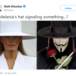 A signal a la V for Vendetta. (Photo: Twitter)