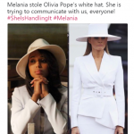 A recreation of Oliva Pope's gladiator hat look. (Photo: Twitter)