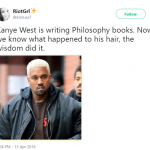 Kanye West didn't bleach his hair. He was philosophizing too hard. (Photo: Twitter)