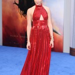 "Gal Gadot wore a super-hero worthy dress at the ""Wonder Woman"" premiere; a glittering ruby Givenchy gown, one we think Diana Princess would approve of! (Photo: WENN)"