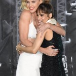 "One beauty hugging another beauty. Charlize Theron and Sofia Boutella at the world premiere of ""Atomic Blonde."" (Photo: WENN)"