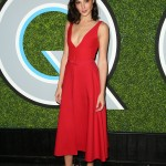 Gal Gadot reinvented the classic red dress in a plunging crimson dress by Dior with a pair of matching shorts underneath at the GQ Men of the Year 2017 party. (Photo: WENN)