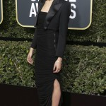 Gal made a sophisticated arrival at the 2018 Golden Globes red carpet donning a beautiful bolero jacket topping off her strapless ruched black dress by Tom Ford. (Photo: WENN)