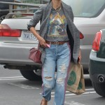 Alessandra Ambrosio was a chic rock star in vintage Def Leppard shirt, grey pleated blazer and pink stripe denim as she stepped out in the streets of Los Angeles. (Photo: WENN)