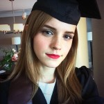 Emma Watson graduated from Brown University in 2014 with a bachelor's degree in English literature. The actress shared her milestone with fans by tweeting a cap-and-gown selfie. (Photo: Twitter)