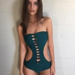Emily Ratajkowski's cutout one-piece teal swimsuit is just as sexy as any bikini. (Photo: Instagram)
