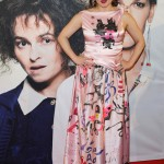 "Helena Bonham wore a super whimsical pink dress whit what appears to be some sort of furry mammal child-drawn-like print at the premiere of ""Eleanor & Colette."" (Photo: WENN)"