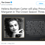 """I'm not sure which I'm more terrified about—doing justice to the real Princess Margaret or following in the shoes of Vanessa Kirby,"" Helena said of taking over the role. (Photo: Twitter)"