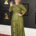 Adele looked amazing wearing an army green Givenchy Couture dress by Ricardo Tisci at the 2017 Grammy Awards red carpet. (Photo: WENN)